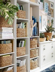 Beautiful Bookcase with blue & tan-Pinterest